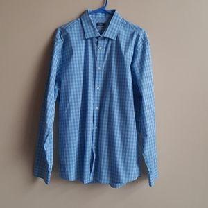 Men's IZOD Blue White Check Button Down Shirt